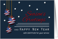 Military Patriotic Season's Greetings Custom American Flag Ornaments card