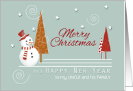 Uncle and Family Snowman Pattern Trees Custom Merry Christmas card