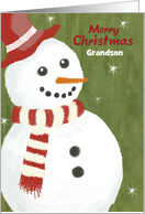 Grandson Red Hat Cute Snowman Merry Christmas with Woolen Scarf card