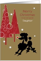 Daughter Toy Poodle with Glowing Red Nose Christmas Custom card