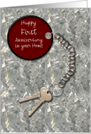 Realtor to Client Custom Year 1st Home Anniversary House Keys Tag on Marble card