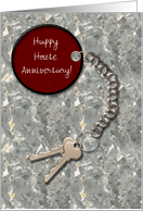 Realtor to Client Custom Happy House Anniversary House Keys Tag on Marble card