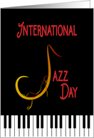 International Jazz Day Artistic Expression of Saxophone and Woman card