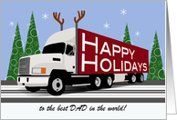 Dad Trucker Custom Relation Happy Holidays White Cab Reindeer Antlers card