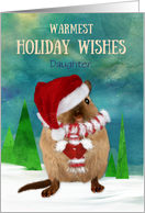 Daughter Custom Christmas Gerbil Santa Hat in Winter Scene card