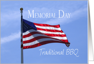 Memorial Day Traditional BBQ Invitation American flag waving against blue sky card