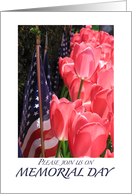 Memorial Day invitation-Flags and tulips card