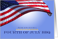 July 4th Traditional BBQ Invitation US Flag waving against blue sky card