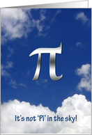 Pi in the sky-thanks Math Teacher card