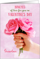 Happy Valentines Day Grandma pink roses card