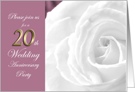20th Wedding Anniversary Party Invitation White Rose card
