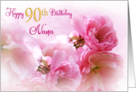 90th Birthday Nana Pink Cherry Blossoms card