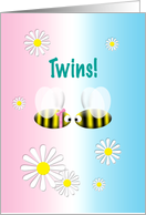 Announcement Twins Girl and Boy Cute Bees card