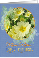 Mom Mom Happy Birthday Primroses Blue and Yellow card