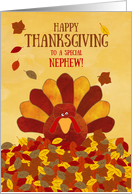Happy Thanksgiving Nephew Gobble Gobble Cute Colorful Turkey card