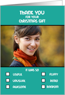 Thank you Christmas Gift Humorous Check Boxes List Photo Card