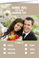 Thank you Wedding Gift Humorous Check Boxes List Photo Card