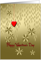 Happy Valentine's Day Marry Me Gold Leaves and Red Heart on a String card