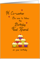 Co-worker Birthday Food Pyramid Cupcakes Humor card