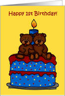 boy/girl twin bears on a 1st birthday cake card