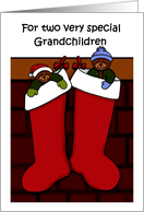 Merry Christmas grandchildren bears in stockings card