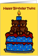 Twin boy bears on cake birthday party invitation card