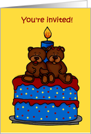 boy girl twin bears on a birthday cake party invitation card