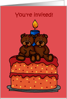 twin girl bears birthday party invitation card