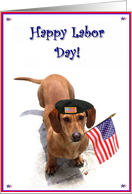 Happy Labor Day Dachshund card