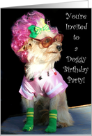 Dog Birthday Party Invitation Toy dog card