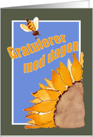 Happy Birthday - Norwegian - Sunflower and Bee card