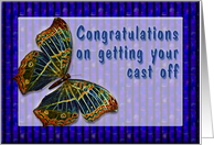 Congrats On getting your Cast off Enamel Butterfly card