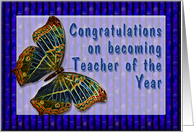 Congrats On Teacher of the Year Enamel Butterfly card