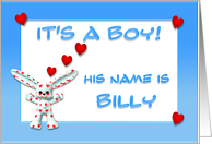 It's a boy, Billy card