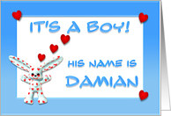 It's a boy, Damian card