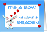 It's a boy, Braden card