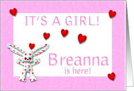 Breanna's Birth Announcement (girl) card