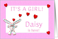 Daisy's Birth Announcement (girl) card