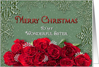 Merry Christmas - Sister - Snow/Roses card