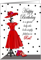 Birthday - Special Lady Wearing Red - Dress/Hat/Accessories card