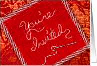 Invitation - Quilting, Sewing Purposes - Red Burlap, Tapestry card
