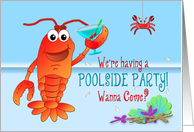 Poolside Party Invitation - Celebrating Lobster with Drink card
