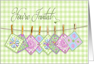 You're Invited, Invitation, Quilting Party, Clothesline, Gingham card
