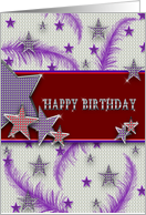 Birthday - Lady In Red Hat- Stars - Glitz - Feathers - Purple - Red card