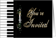 Christmas Party Invitation - Piano - Candles - Keyboard - Musicians - You'Re Invited card