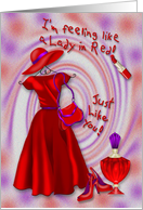 Lady in Red - Feeling Red - Dress and accessories card