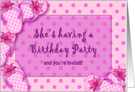 Girly Birthday Party Invitation - Pink Polka Dots - Flip Flops card