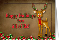 Happy Holidays - Reindeer - Decorations card