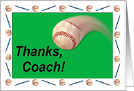 Baseball Coach Thanks card