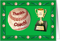 Baseball Coach Trophy Thanks card